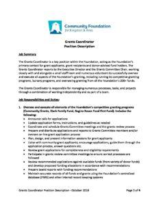 Coordinator Job Description   Grants Coordinator Job Description Final October 2018 Docx